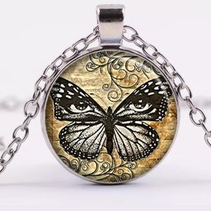 Butterfly Steampunk Glass & Sliver Necklace